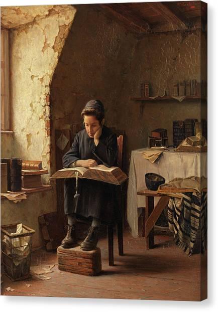 Torah Canvas Print - A Yeshiva Boy Reading by Alois Heinrich Priechenfried