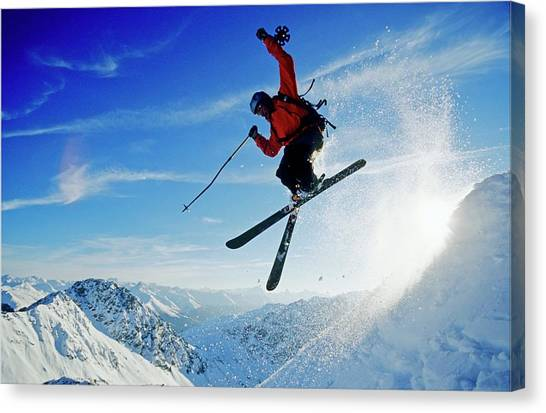 A Young Skier, A Freerider Jumping Over Canvas Print