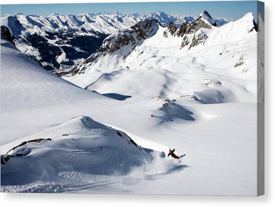 A Young Skier, A Freerider Makes A Turn Canvas Print