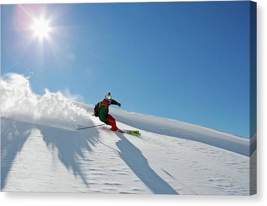 A Young Skier, A Freerider Making A Canvas Print