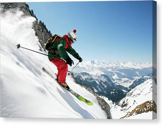 A Young Skier, A Freerider Skis Down A Canvas Print