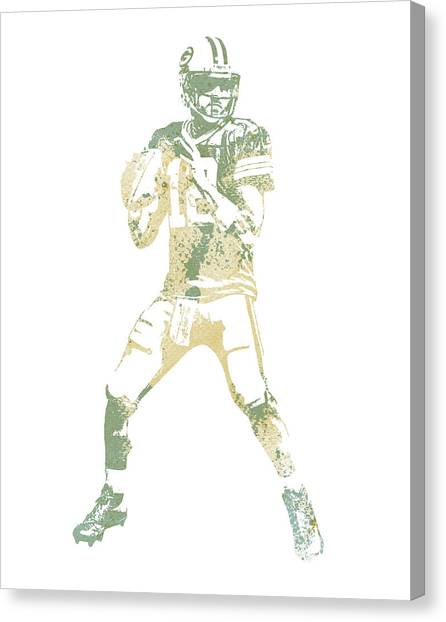Aaron Rodgers Canvas Print - Aaron Rodgers Green Bay Packers Water Color Pixel Art 10 by Joe Hamilton