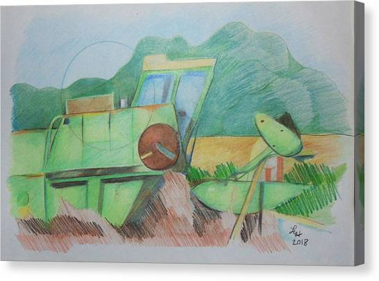 Abandoned Combine Canvas Print