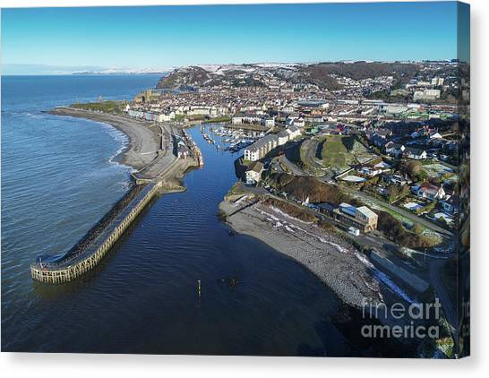 Aberystwyth Harbour From The Air In Winter Canvas Print