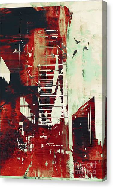 Brush Stroke Canvas Print - Abstract Architecture With Red Grunge by Tithi Luadthong