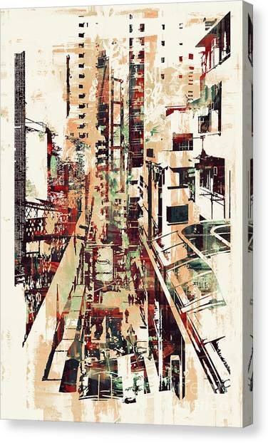 Acrylic Canvas Print - Abstract Art Of Cityscape,illustration by Tithi Luadthong