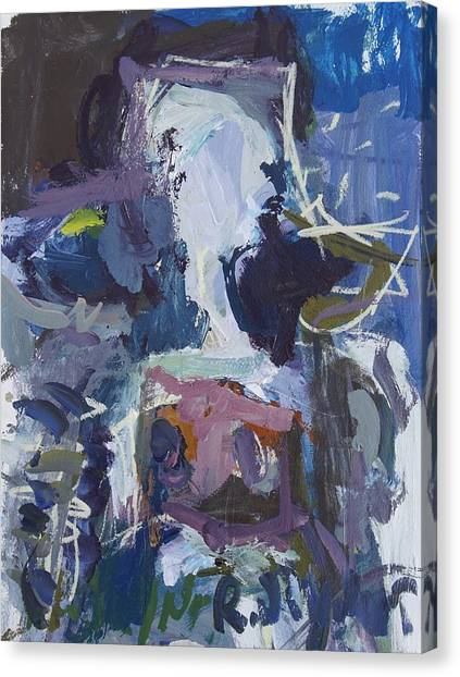 Abstract Blue Cow Canvas Print