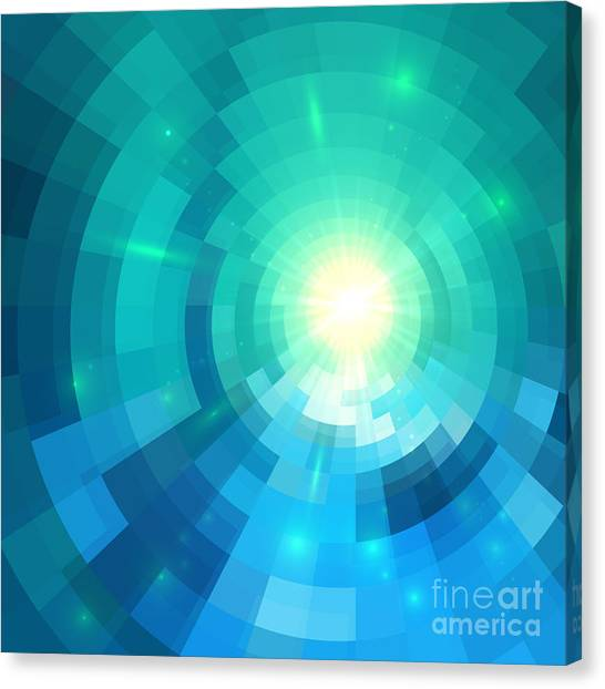 Fire Ball Canvas Print - Abstract Blue Shining Circle Tunnel by Art of sun
