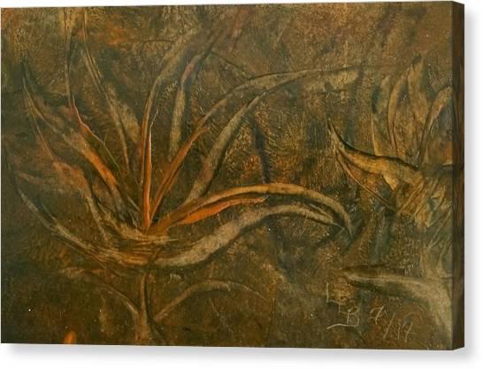 Abstract Brown/orange Floral In Encaustic Canvas Print