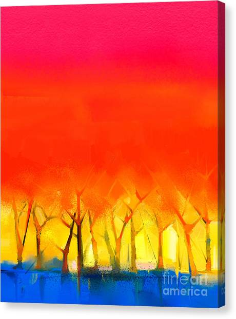 Brush Stroke Canvas Print - Abstract Colorful Oil Painting by Pluie r