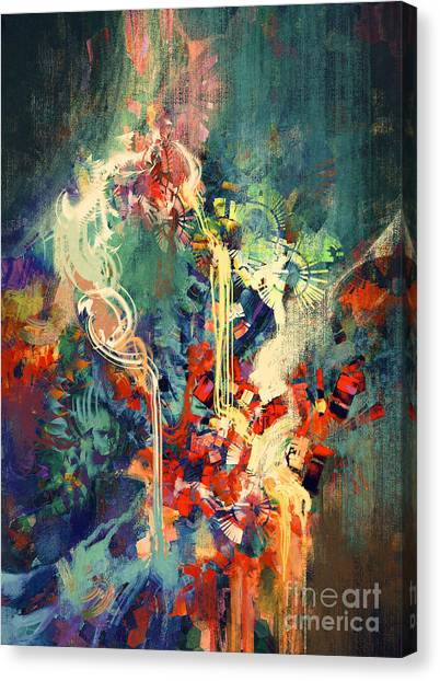 Brush Stroke Canvas Print - Abstract Colorful Painting,melted by Tithi Luadthong