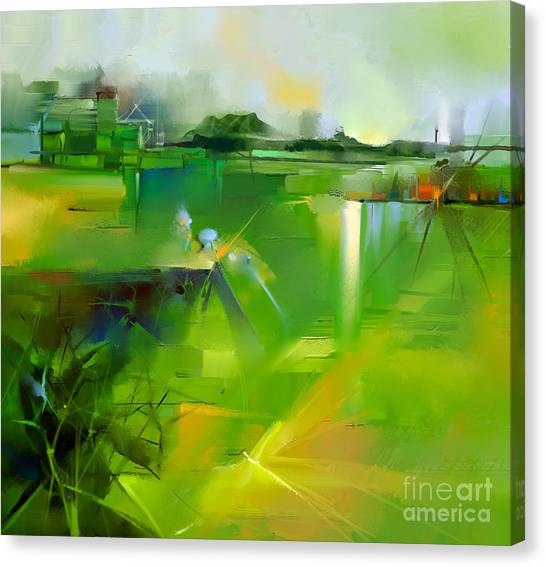 Media Canvas Print - Abstract Colorful Yellow And Green Oil by Pluie r