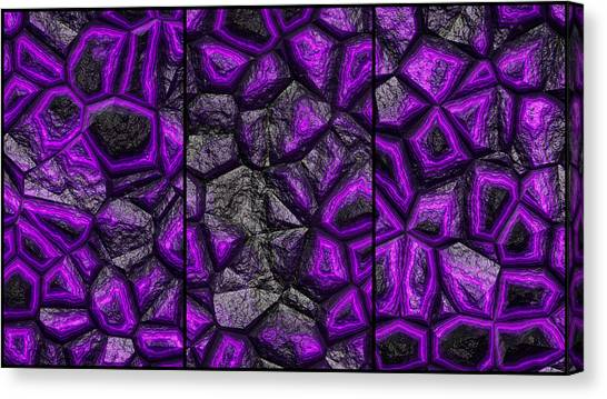 Abstract Deep Purple Stone Triptych Canvas Print
