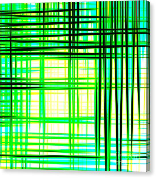 Abstract Design With Lines Squares In Green Color Waves - Pl409 Canvas Print