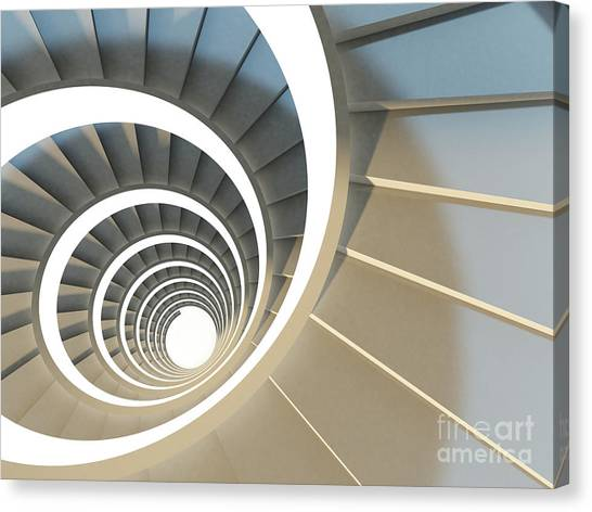 Shadow Canvas Print - Abstract Endless Spiral Staircase With by Maria Kazanova