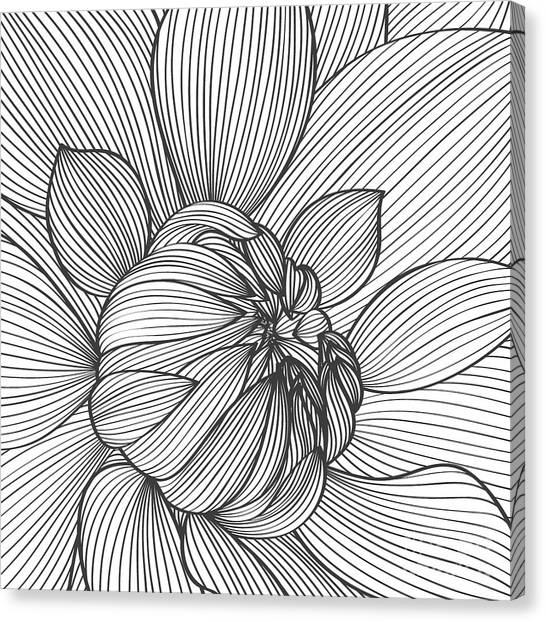 Dahlias Canvas Print - Abstract Floral Background. Vector by Katyartdesign