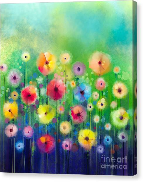 Purple Canvas Print - Abstract Floral Watercolor Painting by Pluie r
