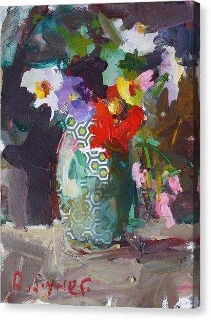 Abstract Flower Still Life Painting Canvas Print