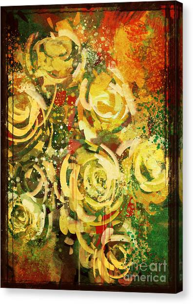 Acrylic Canvas Print - Abstract Flowers Vintage Style,digital by Tithi Luadthong