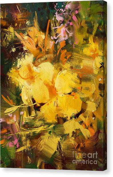 Acrylic Canvas Print - Abstract Painting Of Vibrant Yellow by Tithi Luadthong