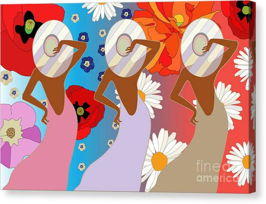 Grey Background Canvas Print - Abstract Pattern Of Women In Dresses by Viktoriya Pa