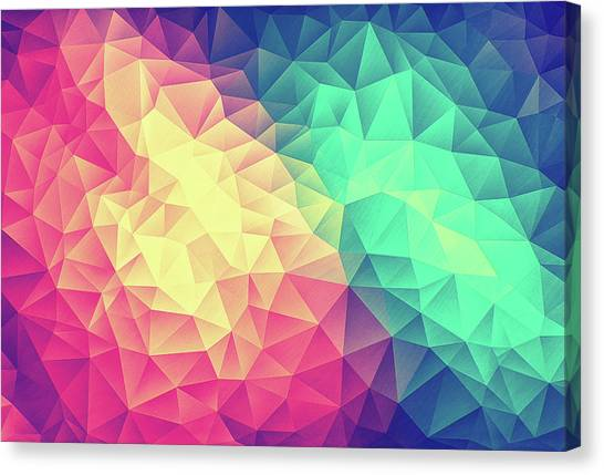 51b516e1 Low Poly Canvas Print - Abstract Polygon Multi Color Cubism Low Poly  Triangle Design by Philipp
