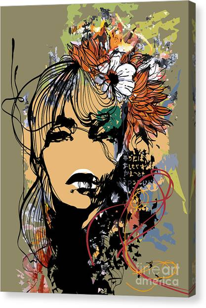 Abstract Print With Female Face Canvas Print by Alisa Franz