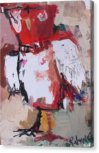 Abstract Red Owl Canvas Print