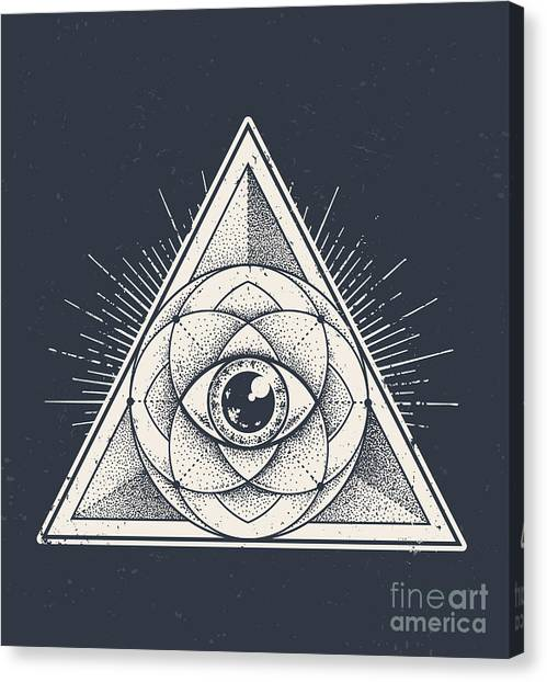 Engraving Canvas Print - Abstract Sacred Geometry. Geometric by Vecster