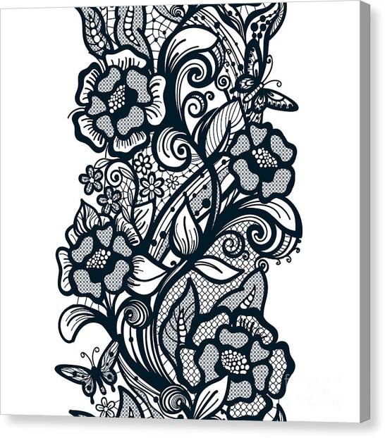 Illustration Canvas Print - Abstract Seamless Lace Pattern With by Vikpit