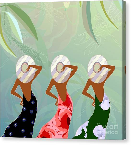 Flash Canvas Print - Abstract Sketch Of Models In Dresses by Viktoriya Pa