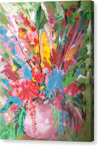Abstract Vase Of Flowers Canvas Print