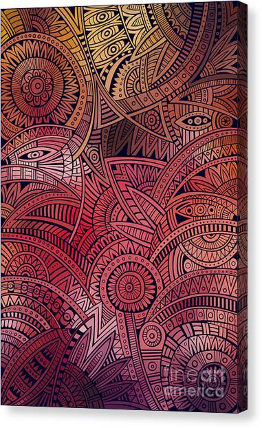 Mexico Canvas Print - Abstract Vector Tribal Ethnic by Balabolka