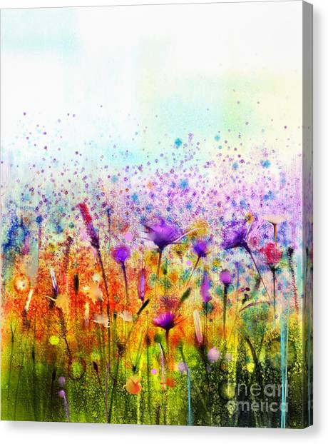 Purple Canvas Print - Abstract Watercolor Painting Purple by Pluie r