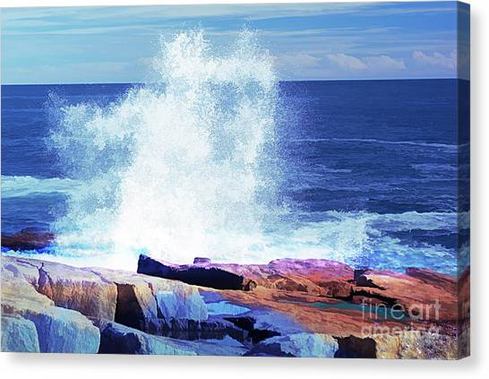 Crashing Waves At Schoodic Point Abstract Canvas Print
