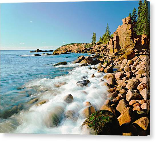 Low Tide Canvas Print - Acadia National Parks Rocky Atlantic by Ron thomas