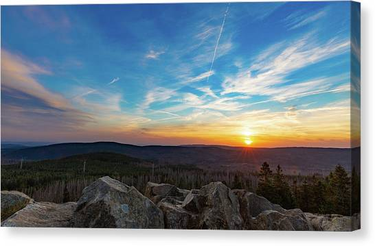 Canvas Print featuring the photograph Achtermann Sunset, Harz by Andreas Levi