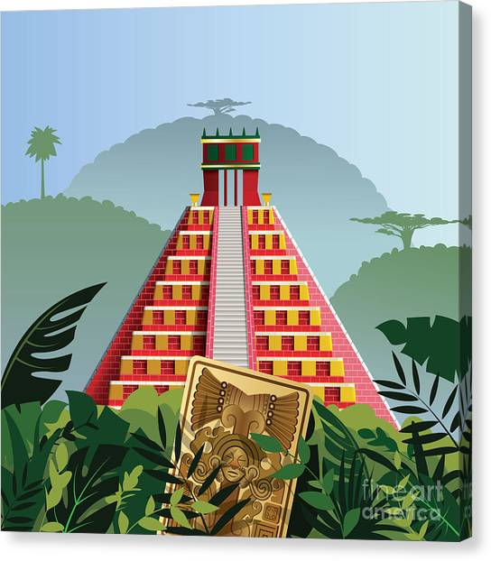 Famous Places Canvas Print - Acient Mayan Pyramid by Nikola Knezevic
