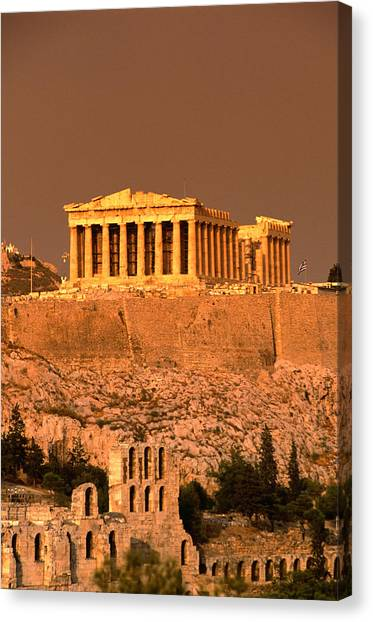 Acropolis And Parthenon From Filopappou Canvas Print