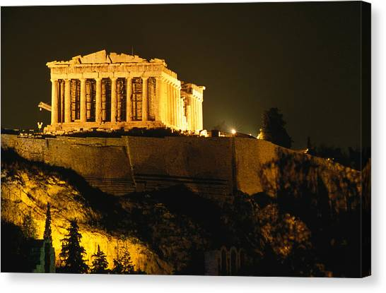 Acropolis At Night Seen From Filopappou Canvas Print