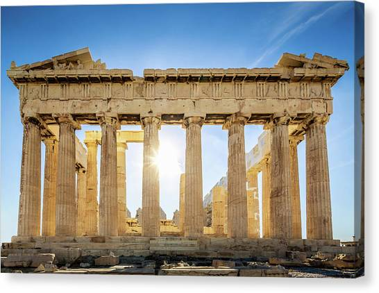 Acropolis Parthenon Temple,athens,greece Canvas Print