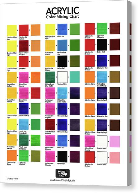 Acrylic Color Mixing Chart Canvas Print by Chris Breier