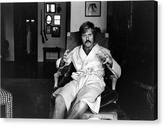 Actor Robert Redford In Bathrobe At Canvas Print by John Dominis