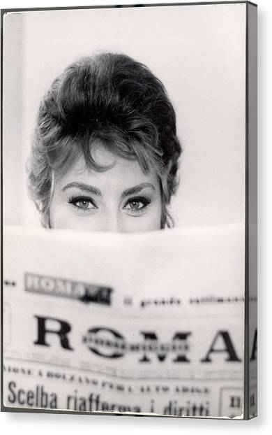 Actress Sophia Loren Impishly Peering Canvas Print by Alfred Eisenstaedt