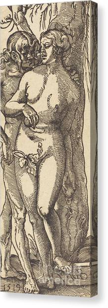 Printmaking Canvas Print - Adam And Eve, 1519 By Grien by Hans Baldung Grien