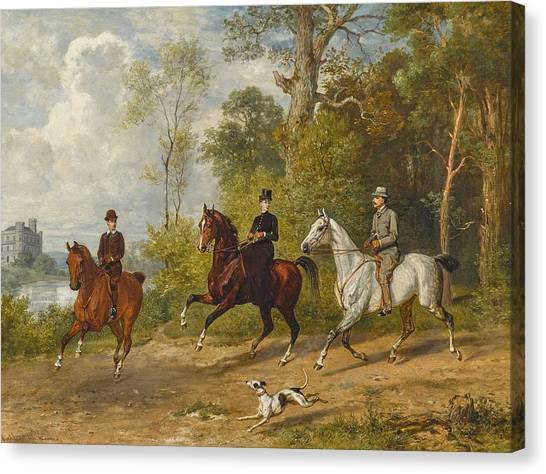 Brown Ranch Trail Canvas Print - Adam, Emil 1843 Munich - 1924 Ibid Horseback Riding In The Park by Celestial Images