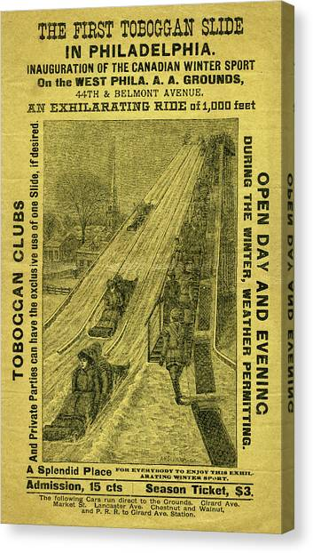 Advertisement For The First Toboggan Slide In Philadelphia Canvas Print