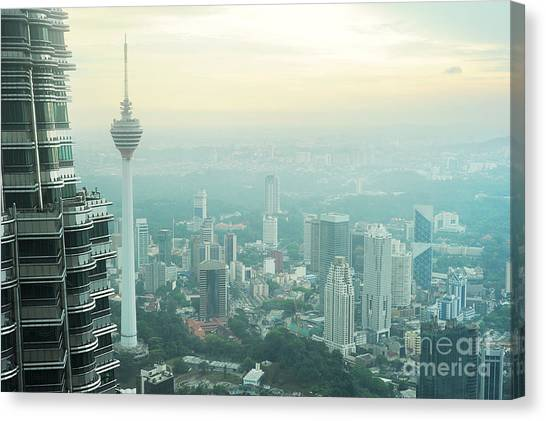 Tv Tower Canvas Print - Aeial View Of Kuala Lumpur From by Joyfull