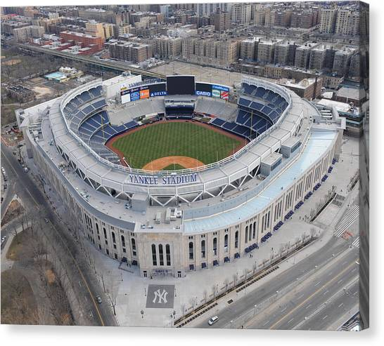 Aerial Photos Of The New Yankee Stadium Canvas Print by New York Daily News Archive
