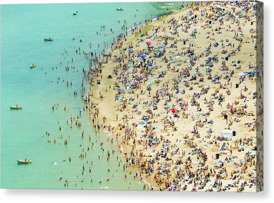 Aerial Shot Of A Crowded Beach Canvas Print